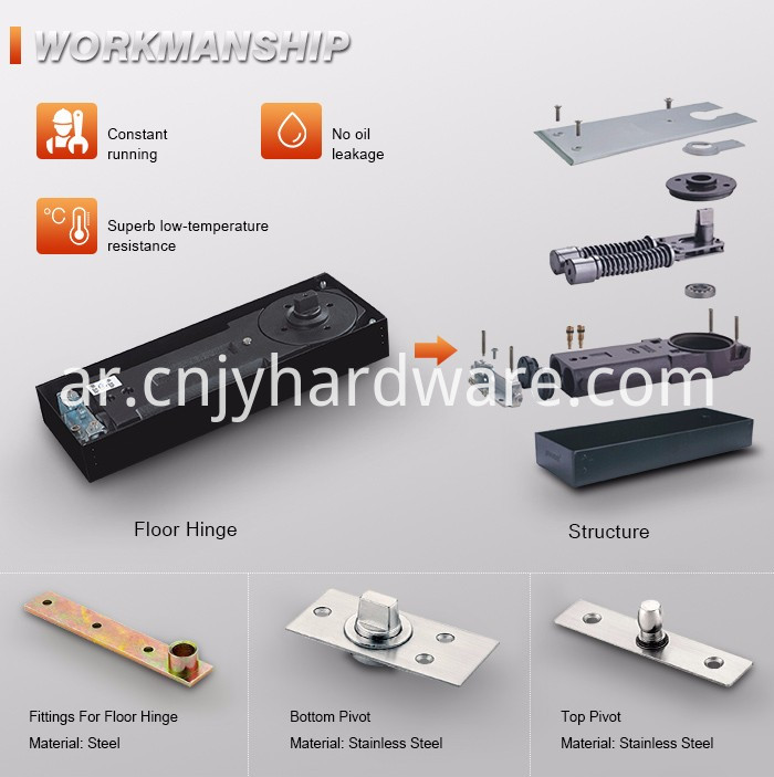 High Durable Single Spring Glass Door Floor Hinges